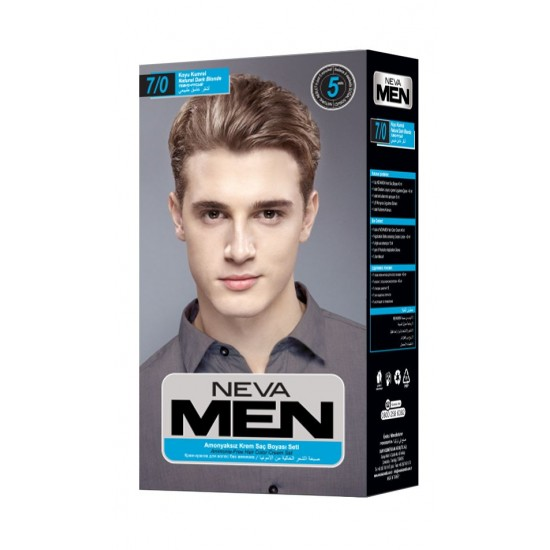 Neva Men Amonyaksız Krem Saç Boyası Seti 7.0 Koyu Kumral