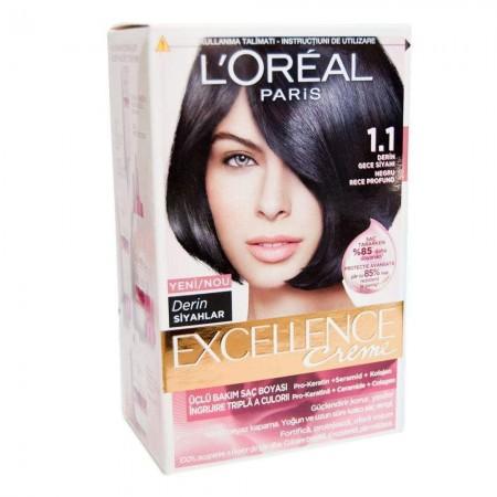 Loreal Excellence Saç Boyası 1.1 Derin Gece Siyahı