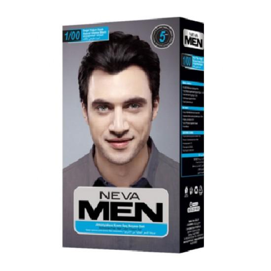 Neva Men Amonyaksız Krem Saç Boyası Seti 1.0 Yoğun Siyah