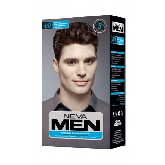 Neva Men Amonyaksız Krem Saç Boyası Seti 4.0 Koyu Kahve