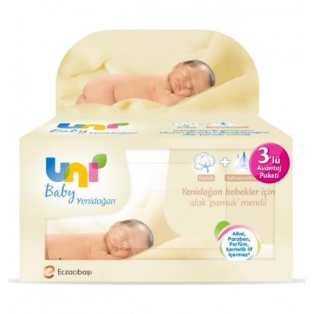 Uni Baby Yenidoğan Islak Pamuk Mendil 3'lü Paket 120 Yaprak